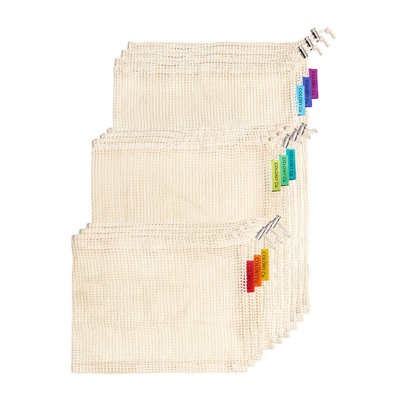 Reusable Produce Bags, Natural Cotton Mesh is Biodegradable, Recyclable Packaging, Machine Washable, Durable, Double-Stitched Seams, Tare Weight on Label, Set of 9, Small-Medium-Large