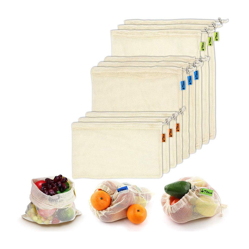 Reusable Produce Bags, Organic Cotton Mesh Bags for Grocery Shopping and Storage with Tare Weight on Tags, Double-Stitched Seams, Machine Washable bags